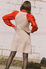 1960s Checkered Ecru Silk Dress