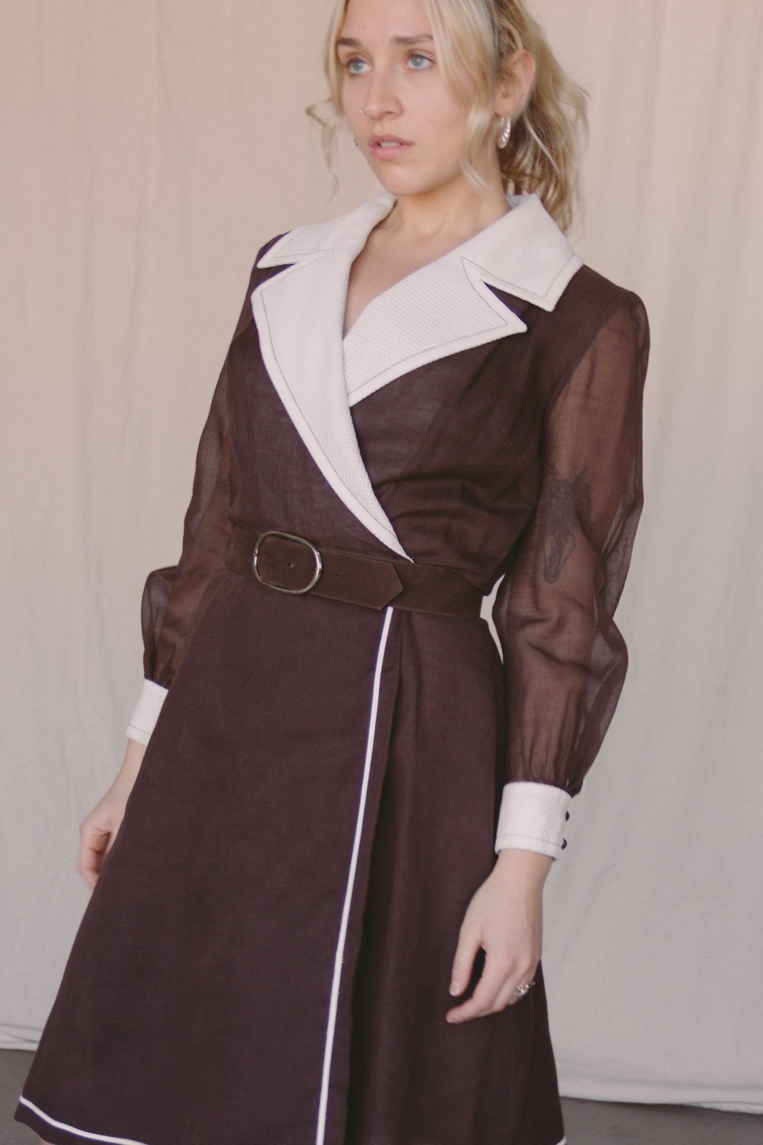 1960s Collared Voile Wrap Dress