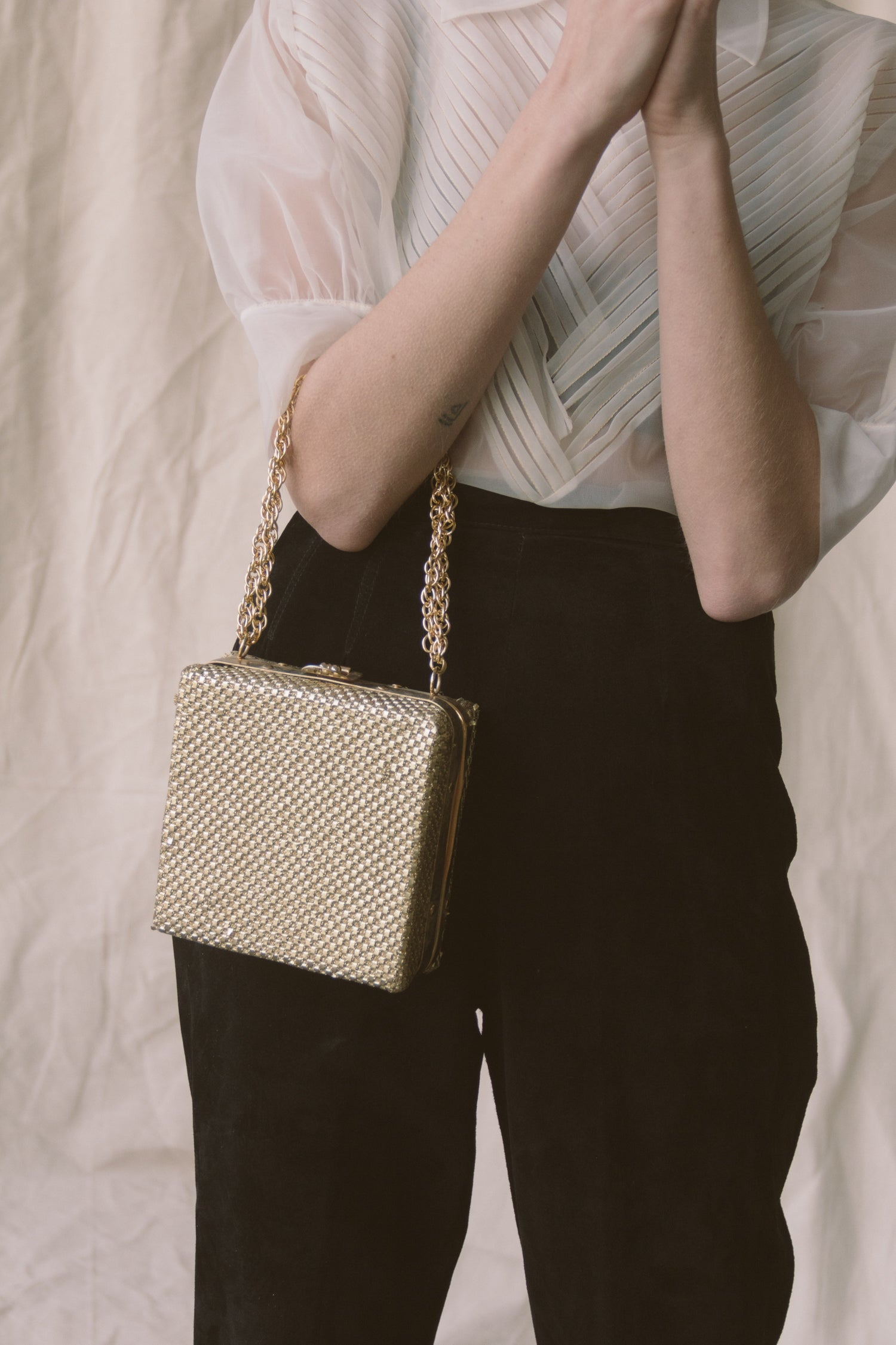 1960s Gold Metal Box Purse