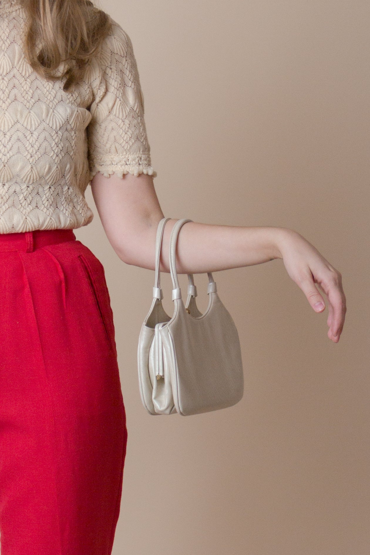 1960s Ivory Leather Mini Bag