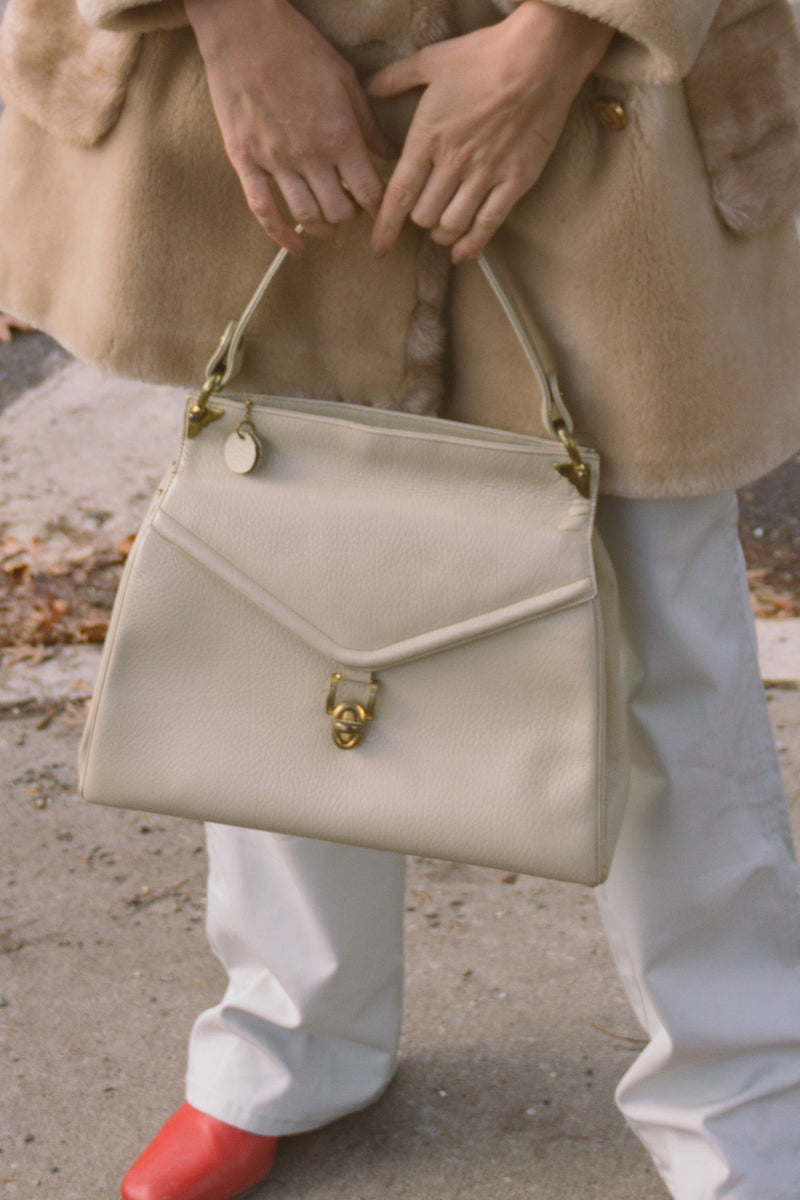 1960s Cream Leather Top Handle Bag