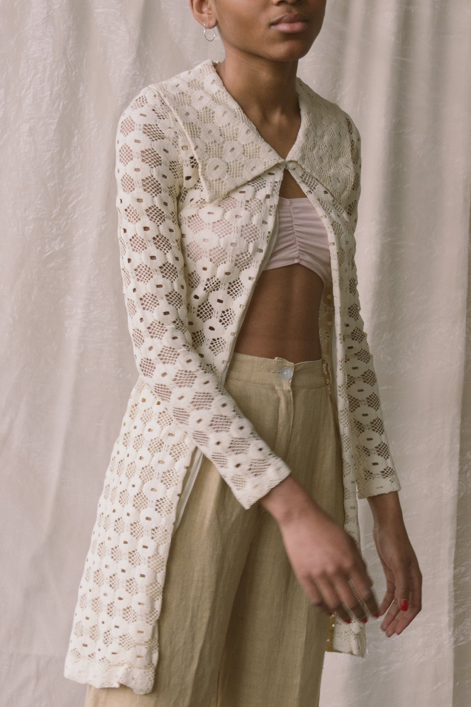1960s Open Lace Collared Duster
