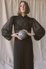 1960s Sheer Poet Mourning Dress