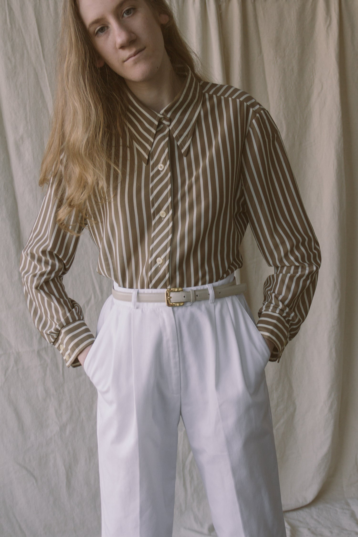 1960s Umber Striped Mesh Shirt