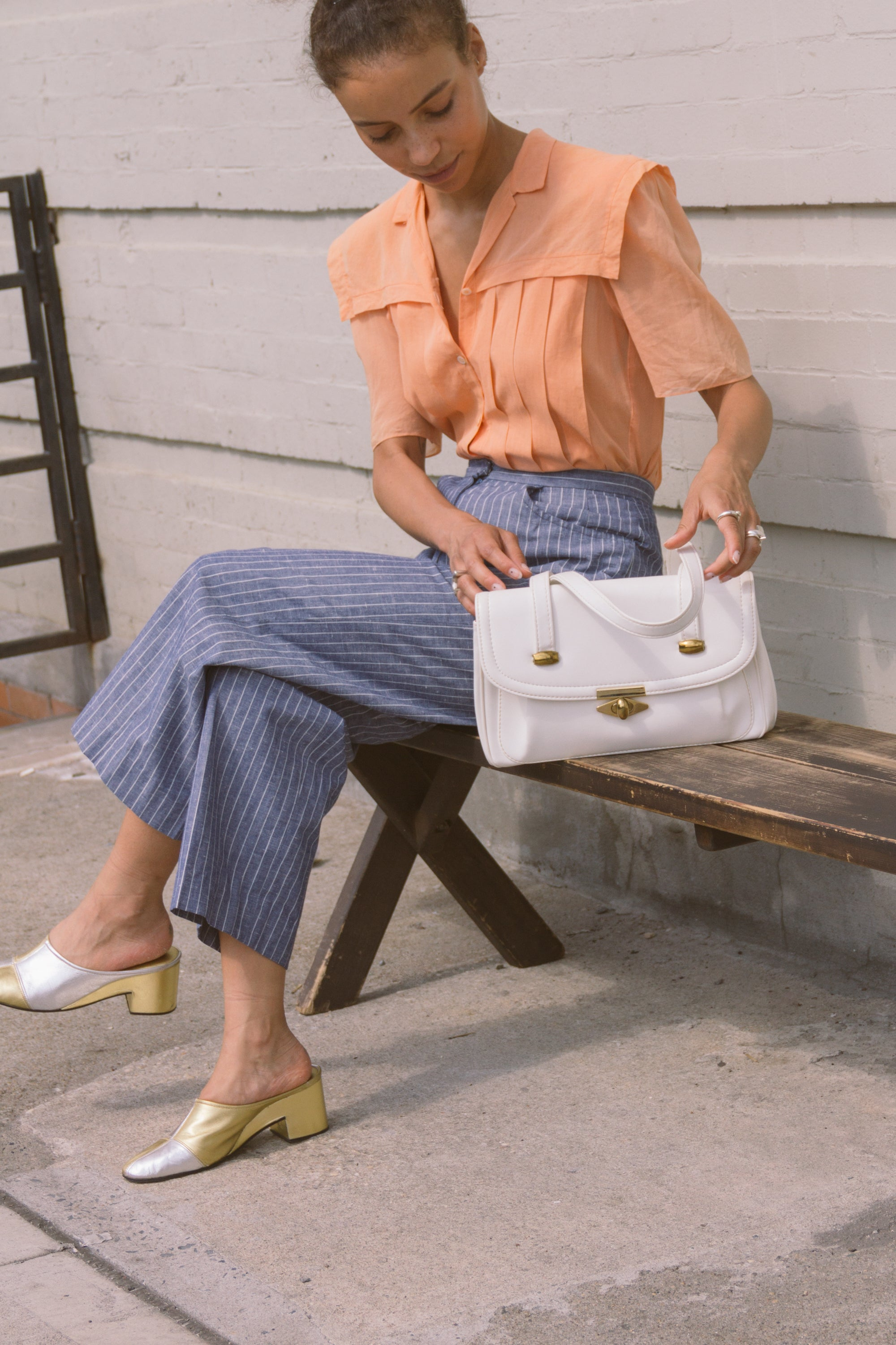 1960s White Leather Shoulder Bag