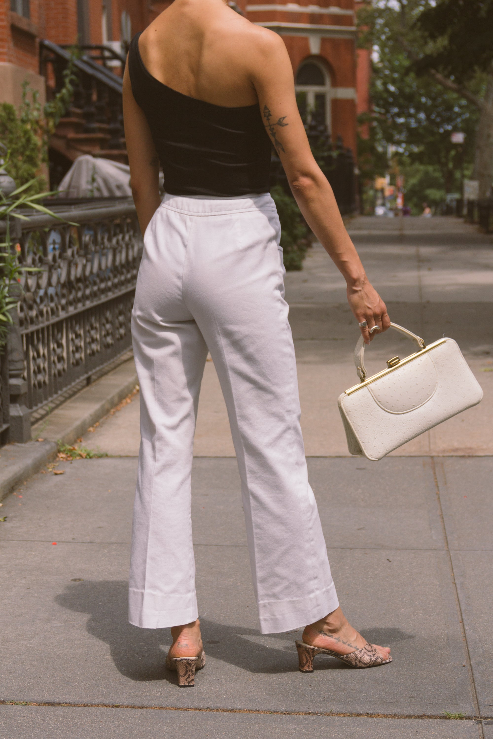 1960s White Twill Flared Trousers | sz 0