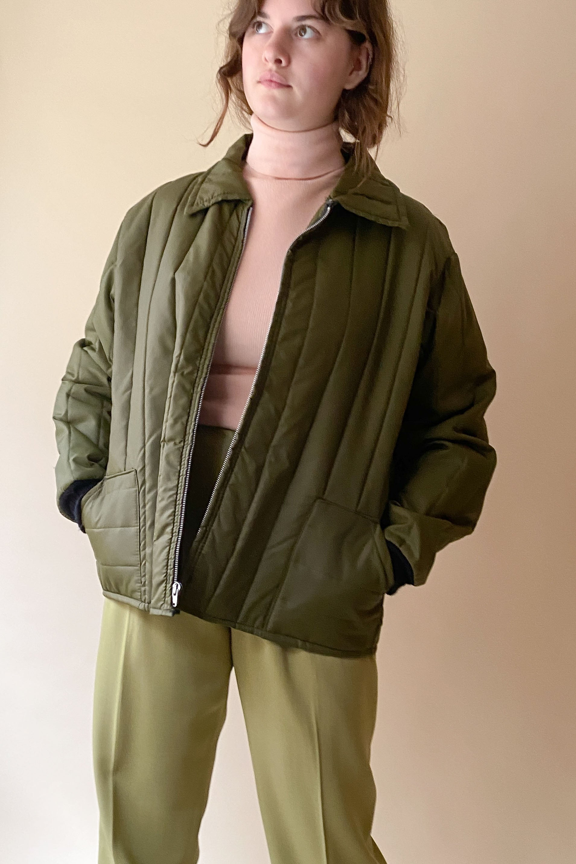 1970s Army Green Quilted Liner Jacket