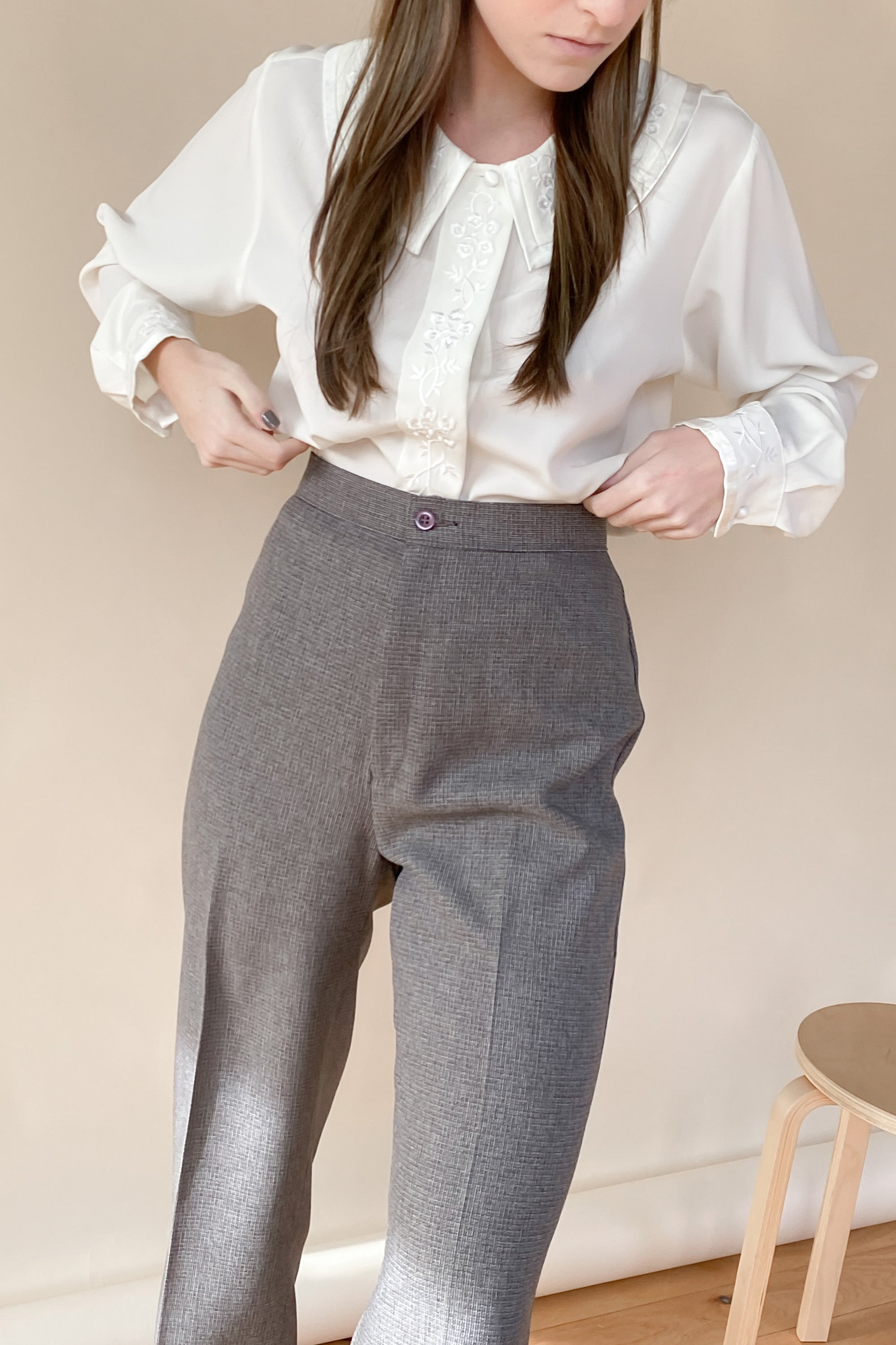 1970s Bend Over Flat Front Trousers | XS