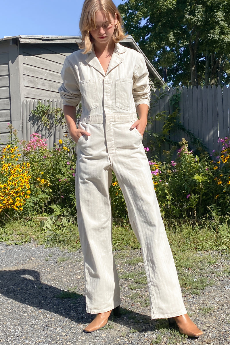 1970s Deadstock Bone Cotton Coveralls