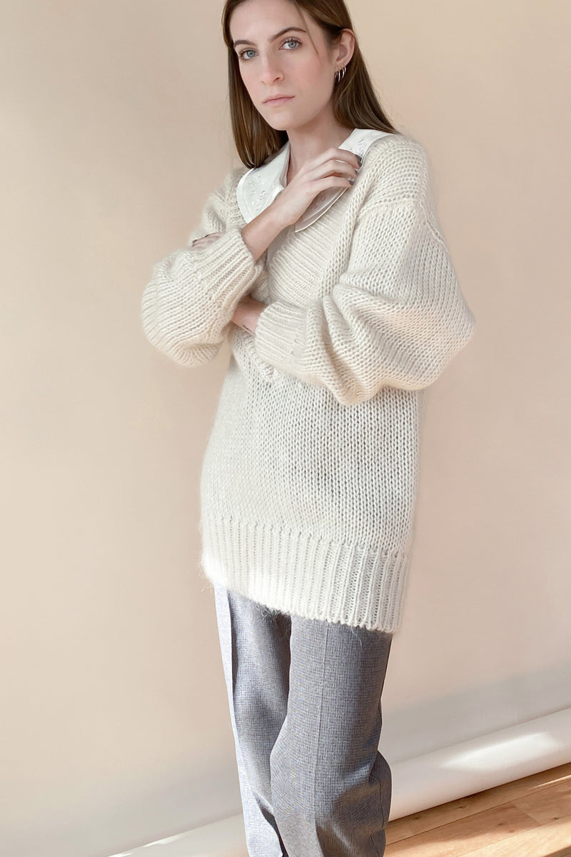 1970s Deep V Mohair Knit Sweater