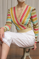1970s Ribbon Knit Wrap Top