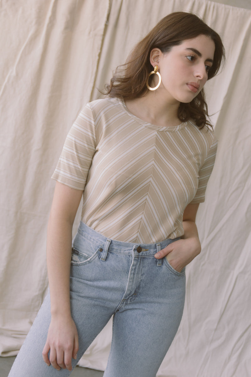 1970s Chevron Metallic Scoop Neck Tee