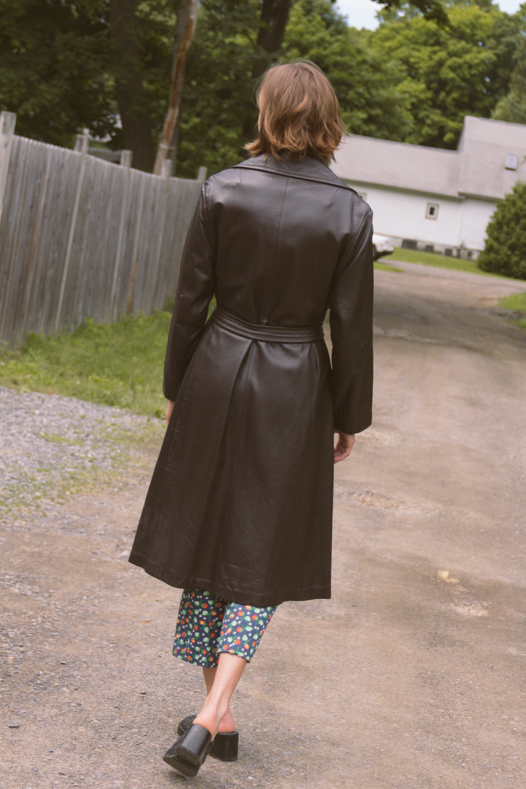 1970s Chocolate Leather Trenchcoat