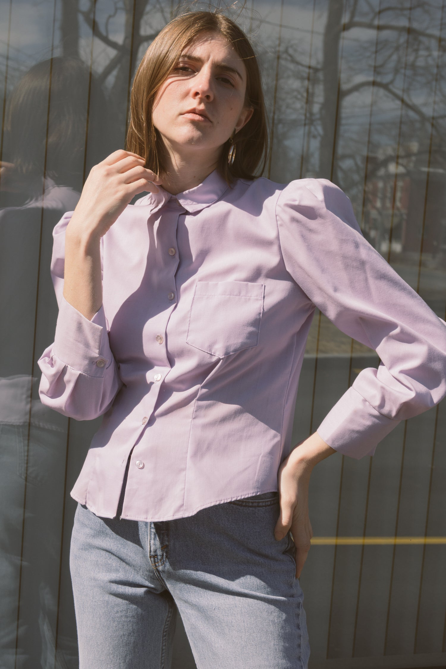 1970s Lavender Cotton Bishop Blouse