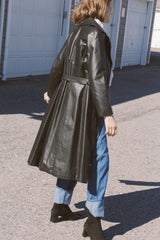 1970s Leather Wide Collar Trenchcoat