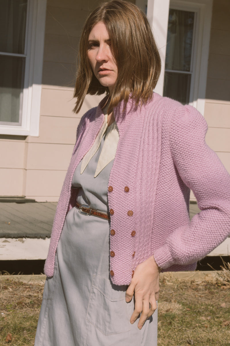 1970s Lilac Double Breasted Knit Cardi