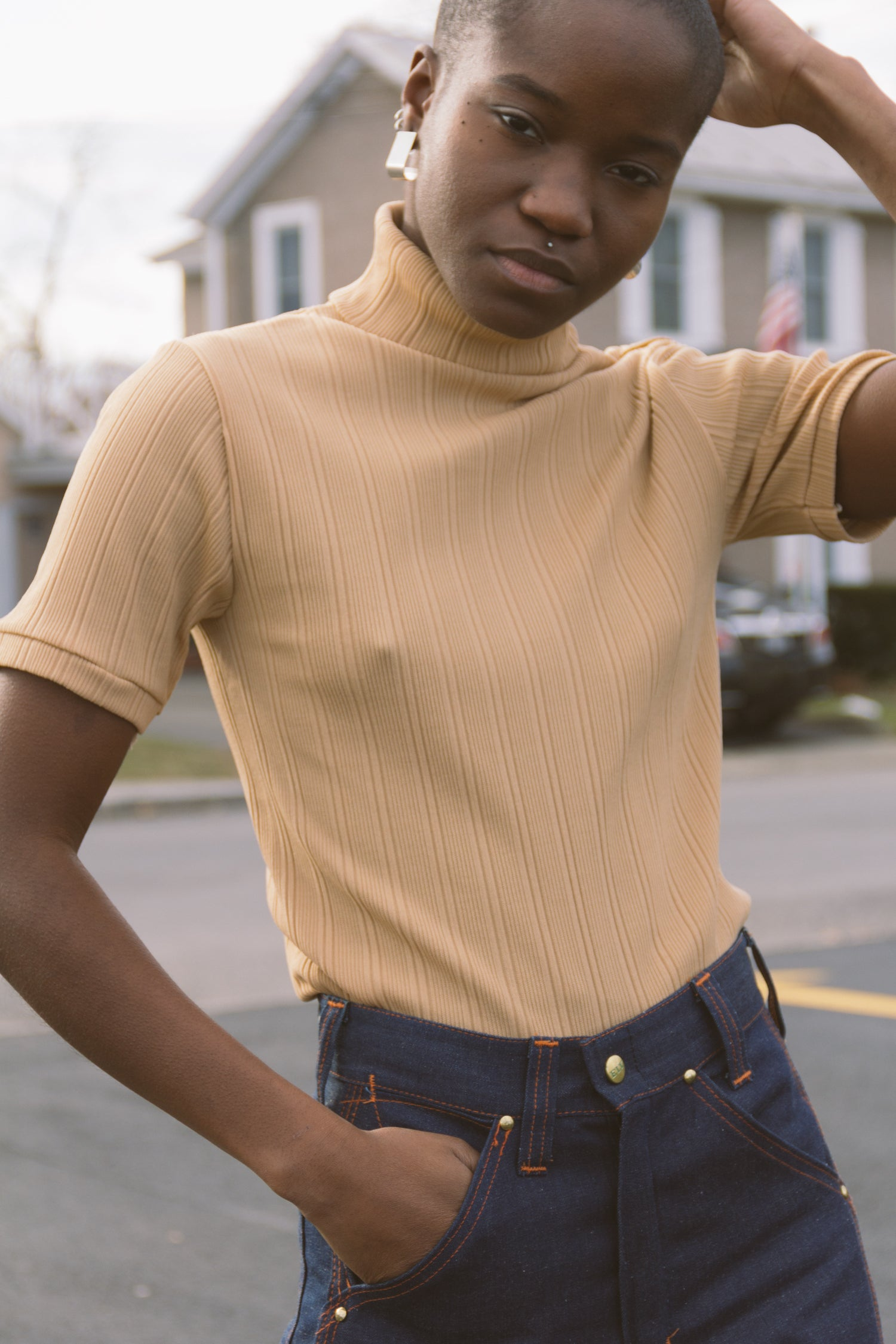 1970s Nude Ribbed Turtleneck Top | S