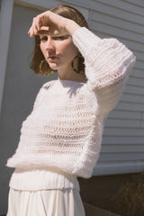 1970s Open Knit Balloon Sleeve Sweater