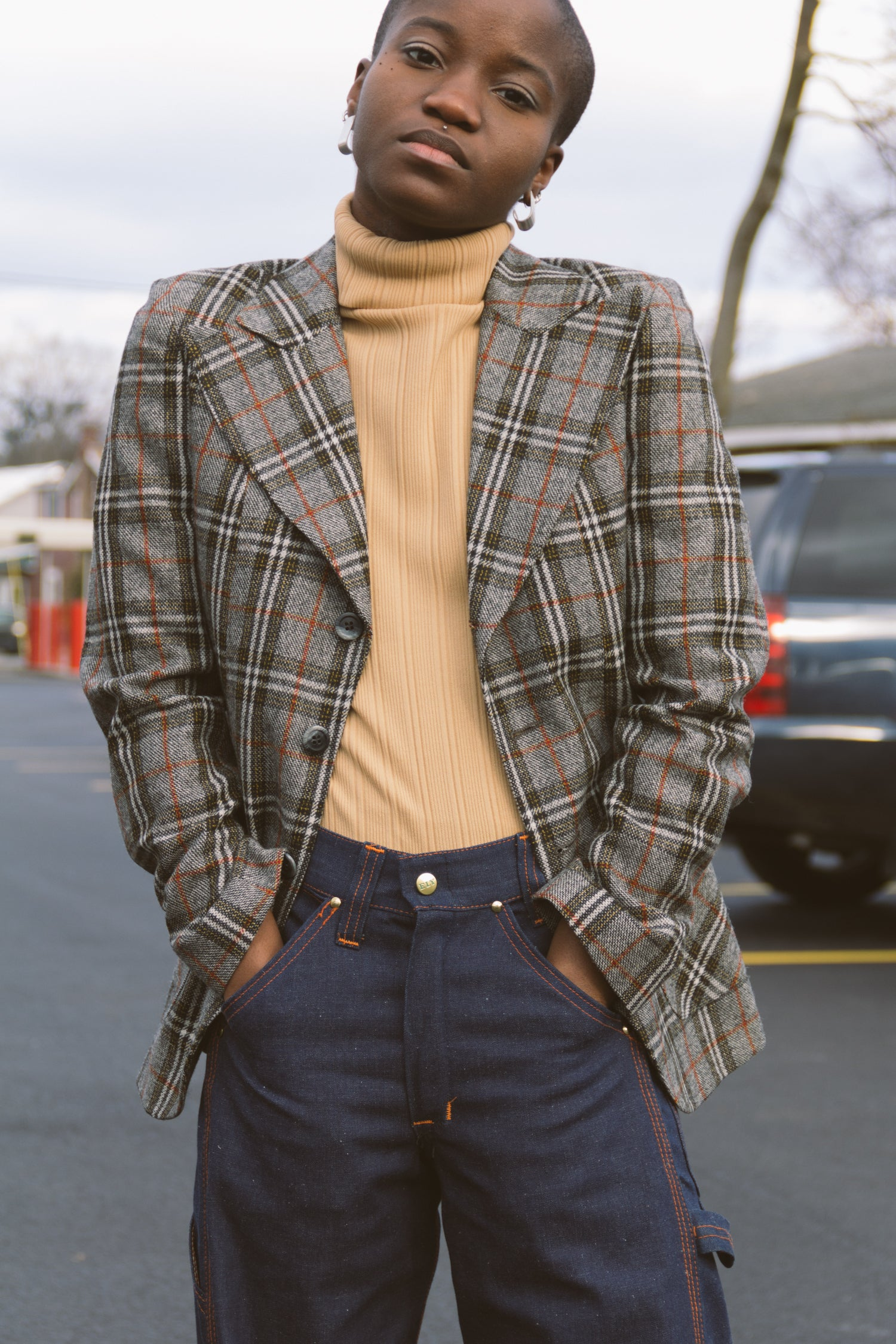 1970s Plaid Wool Sir for Her Blazer