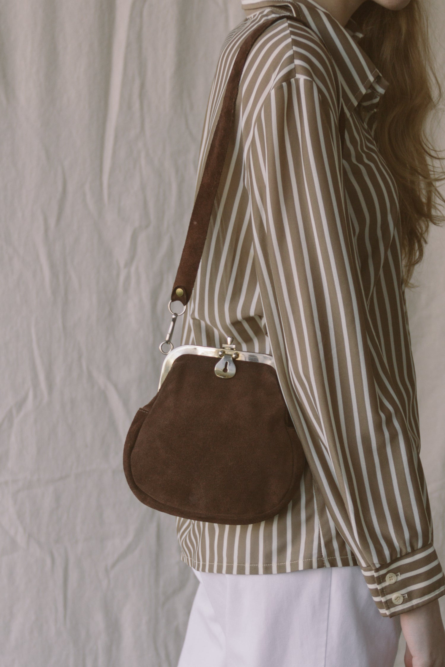 1970s Suede Pouch Satchel Bag