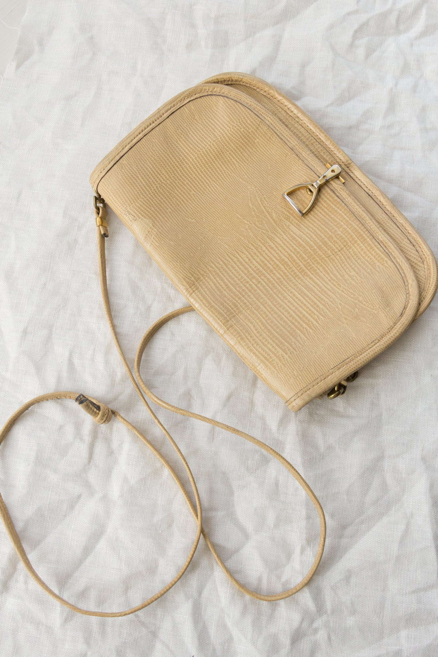 1970s Vegan Snakeskin Crossbody + Clutch