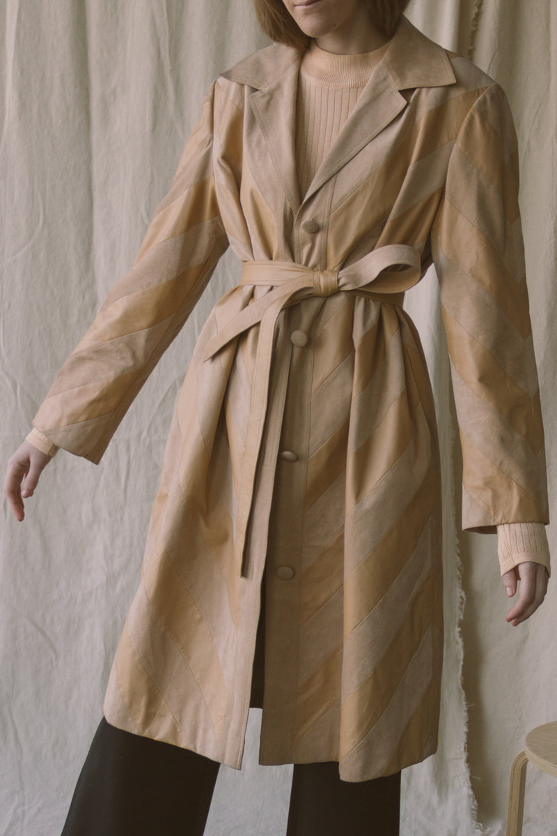 1970s Vegan Leather + Suede Trenchcoat