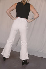 1970s White Patch Pocket Flares