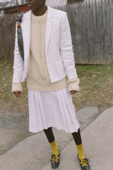 1970s Woven White Pleated Skirt Suit
