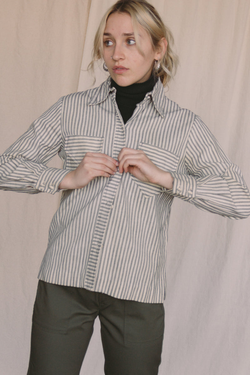1970s Woven Striped Cotton Shirt