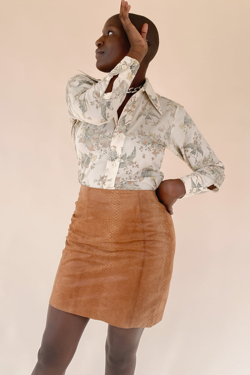 1980s Amber Snakeskin Mini Skirt