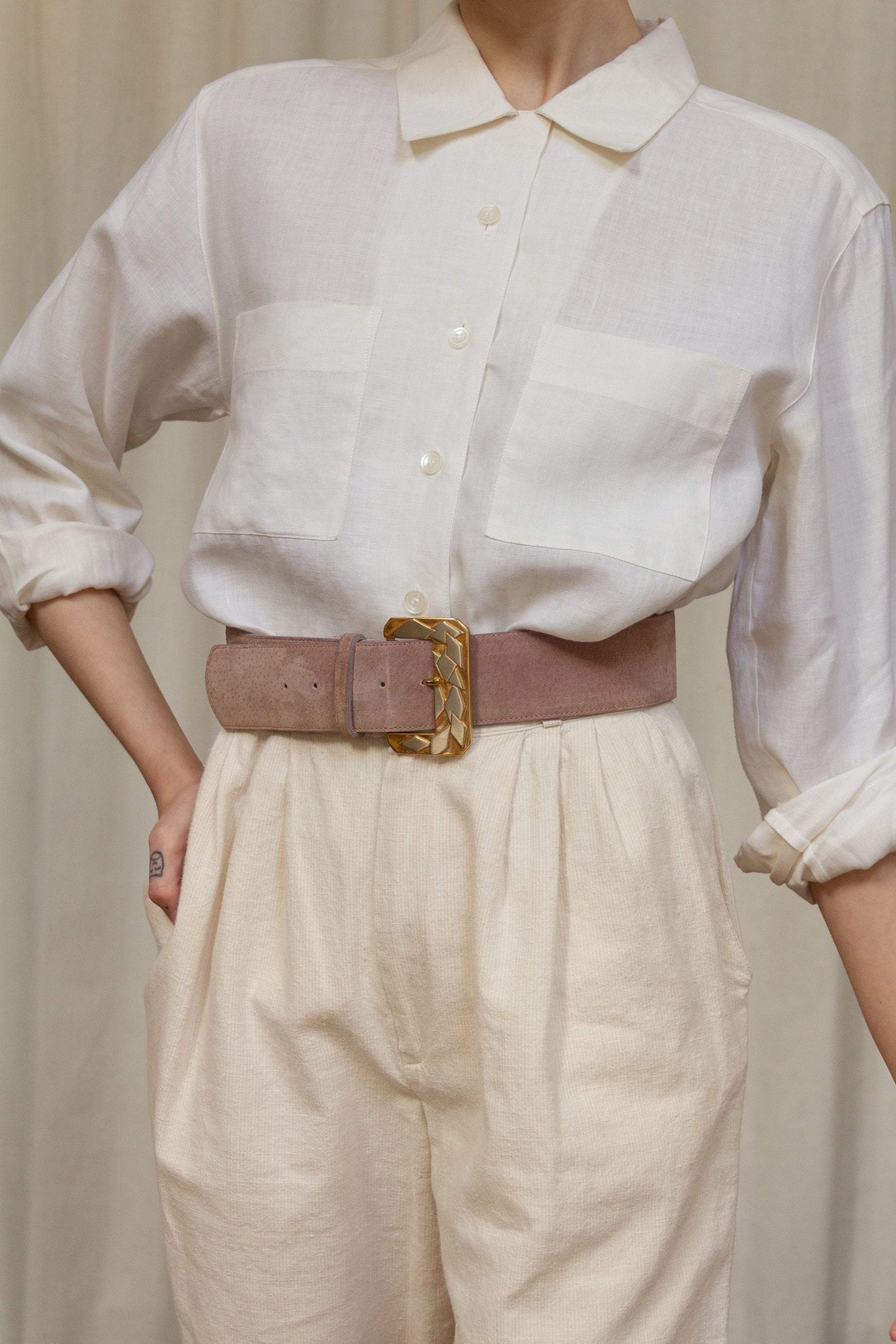 1980s Dusty Lilac Suede Belt