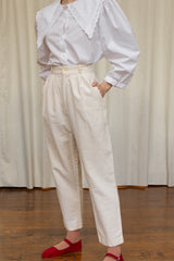 1980s Easy Woven Cotton Pants | S