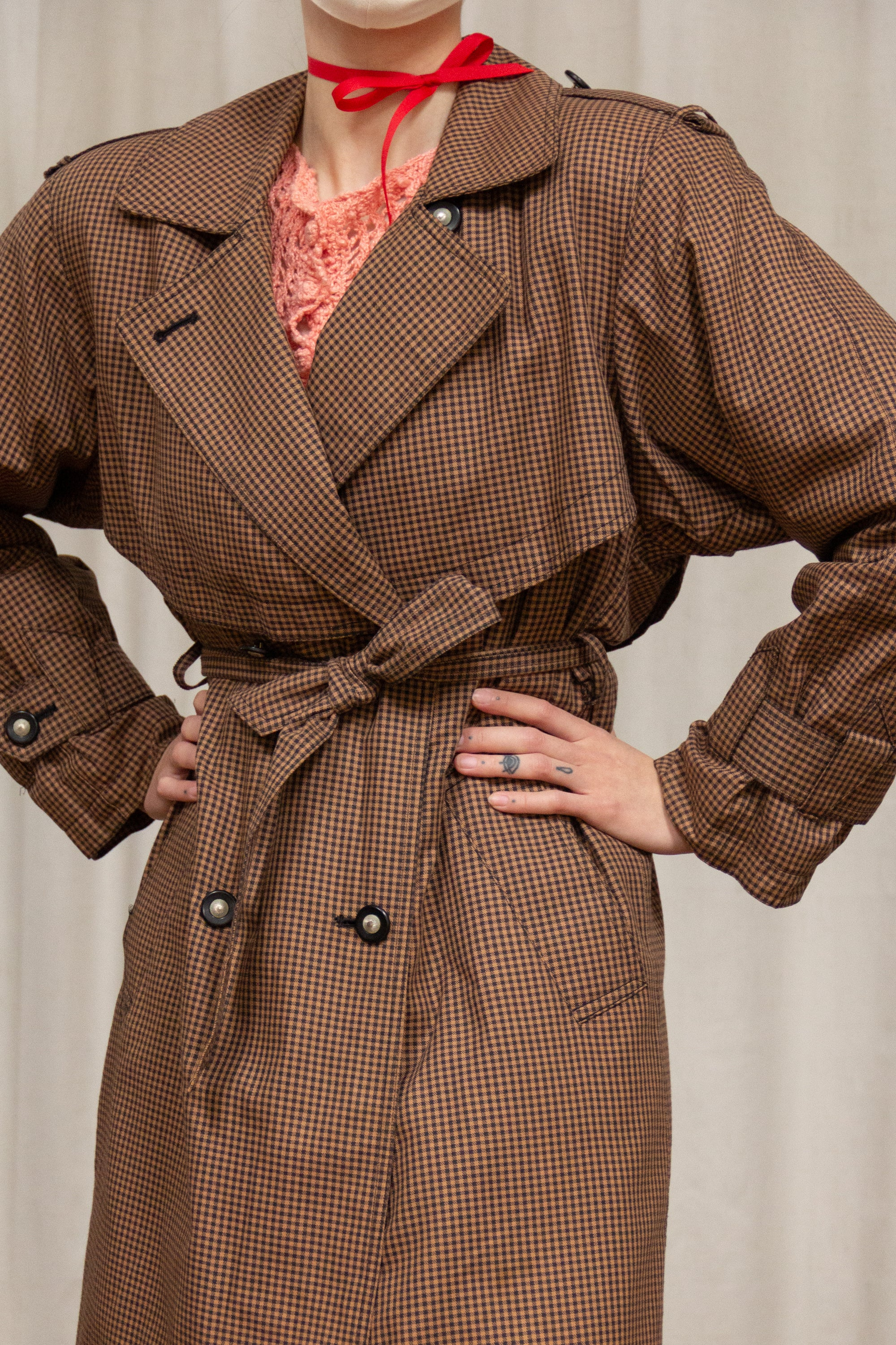 1980s J Gallery Gingham Trench