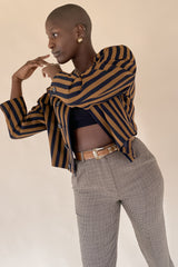 1980s Mondi Collarless Striped Blazer