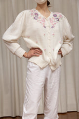 1980s Sweet Embroidery Cotton Knit Cardi
