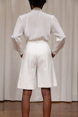 1980s White Leather Pleated Shorts