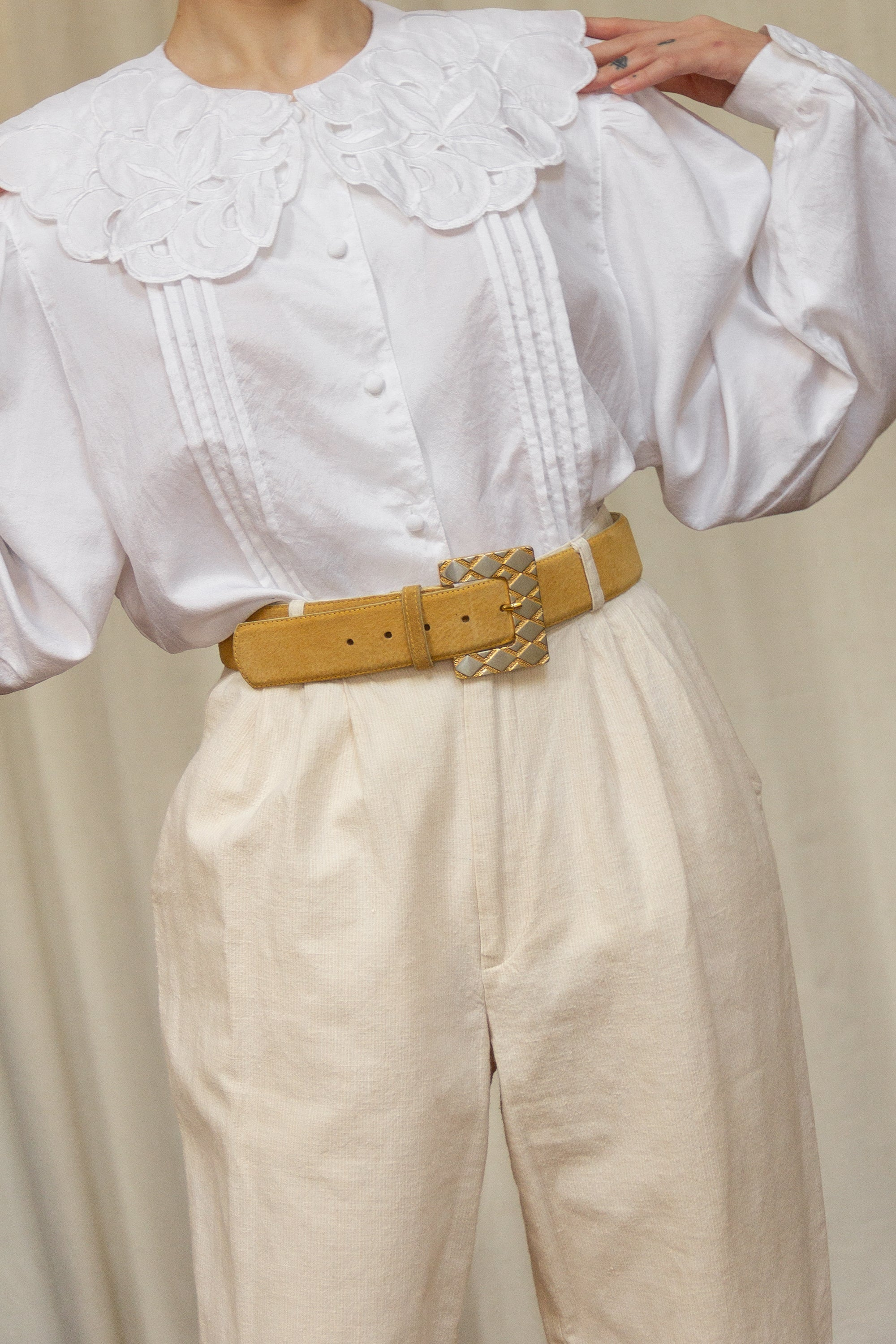 1980s Mustard Square Buckle Belt