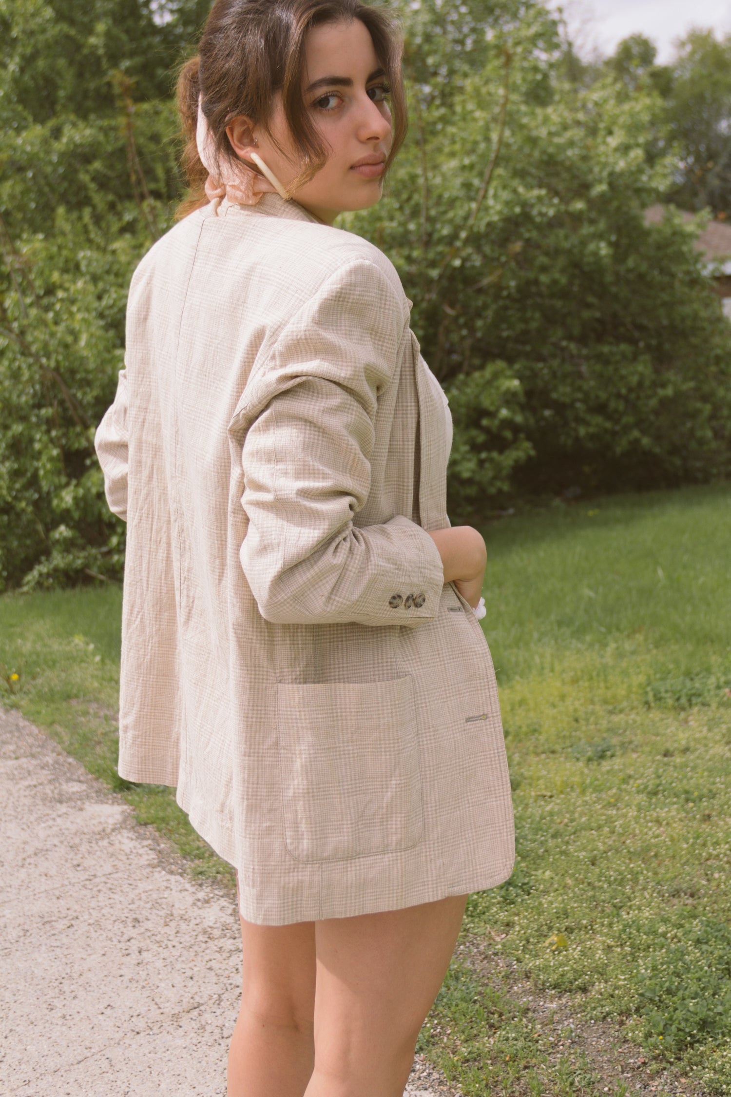 1990s Oversized Plaid Linen Blazer