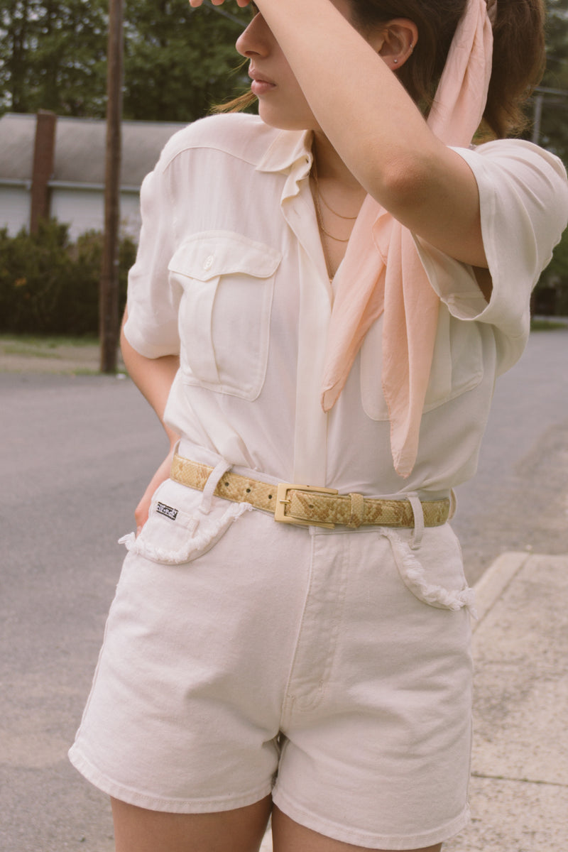 1980s Blonde Snakeskin Gold Buckle Belt