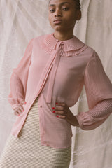 1980s Blush Pleated Ruff Collar Blouse