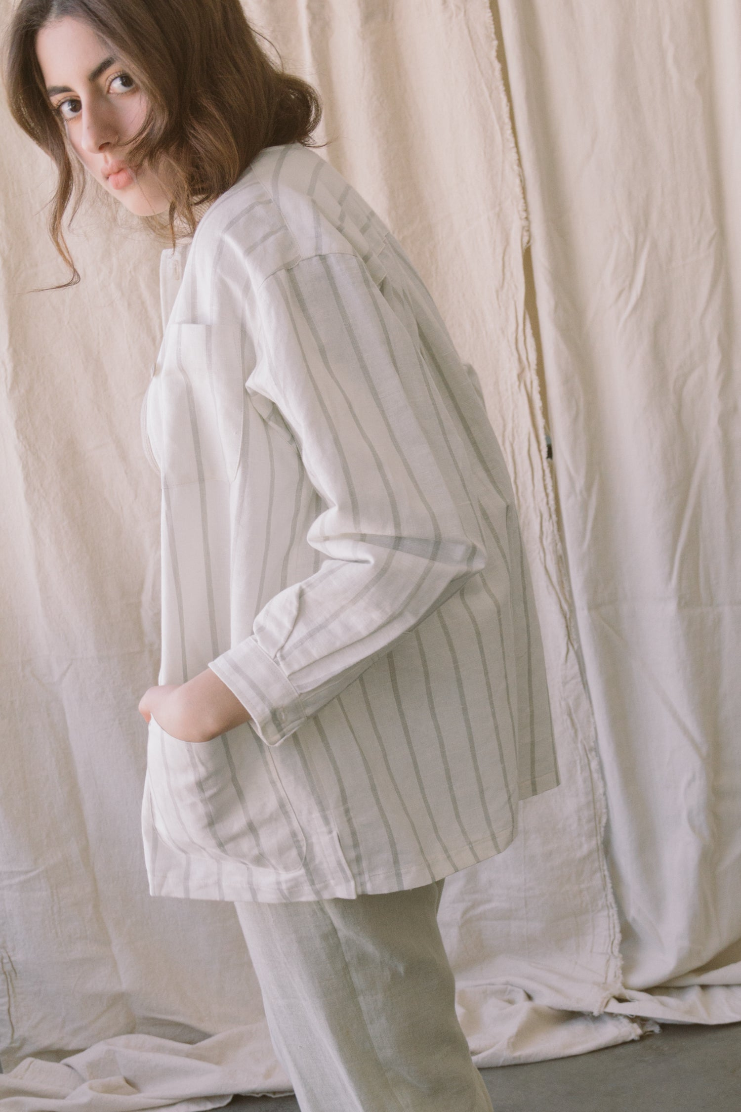 1980s Linen Striped Smock Top