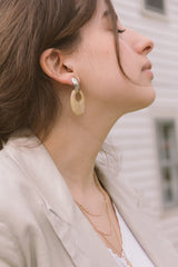 1980s Faux Marble Doorknocker Earrings