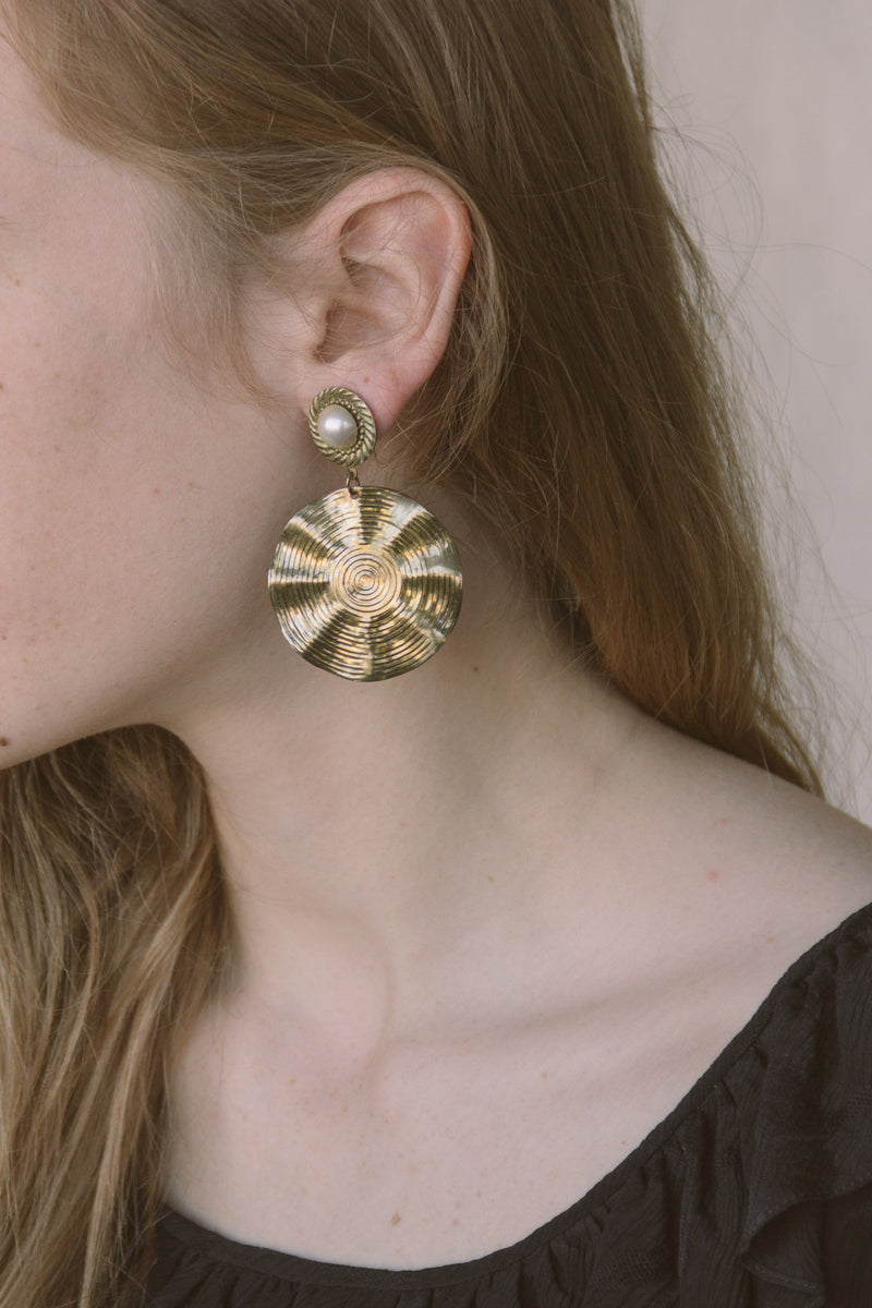 1980s Gold Disc Earrings
