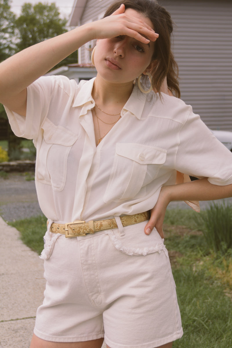1990s Oversized White Rayon Shirt
