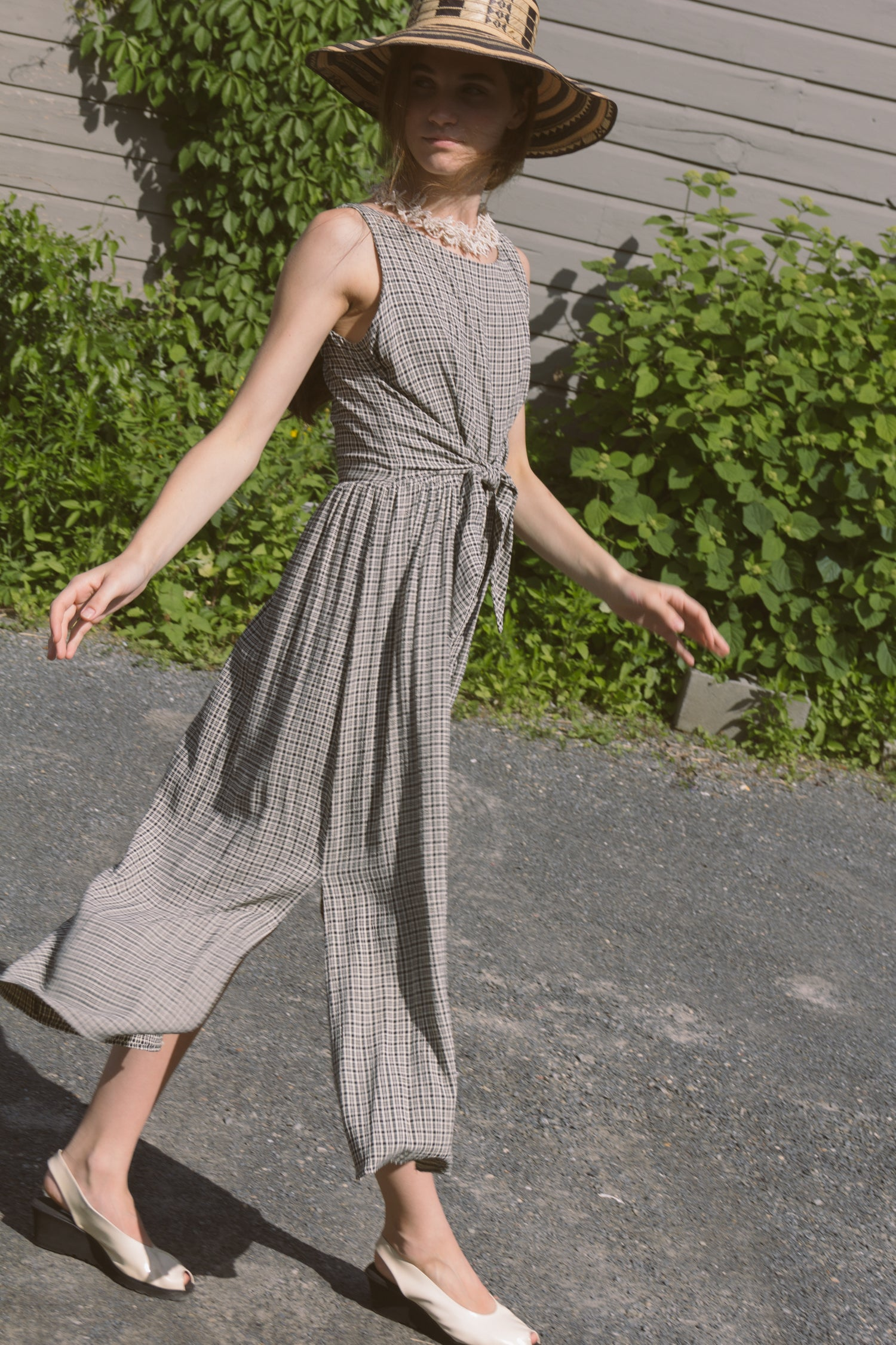 1990s Long Plaid Farm Dress | S/M