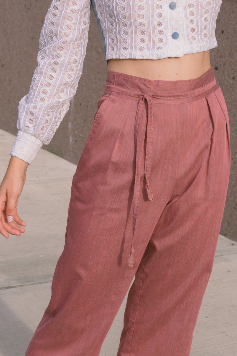 1980s Mauve Cropped Wrap Waist Trousers