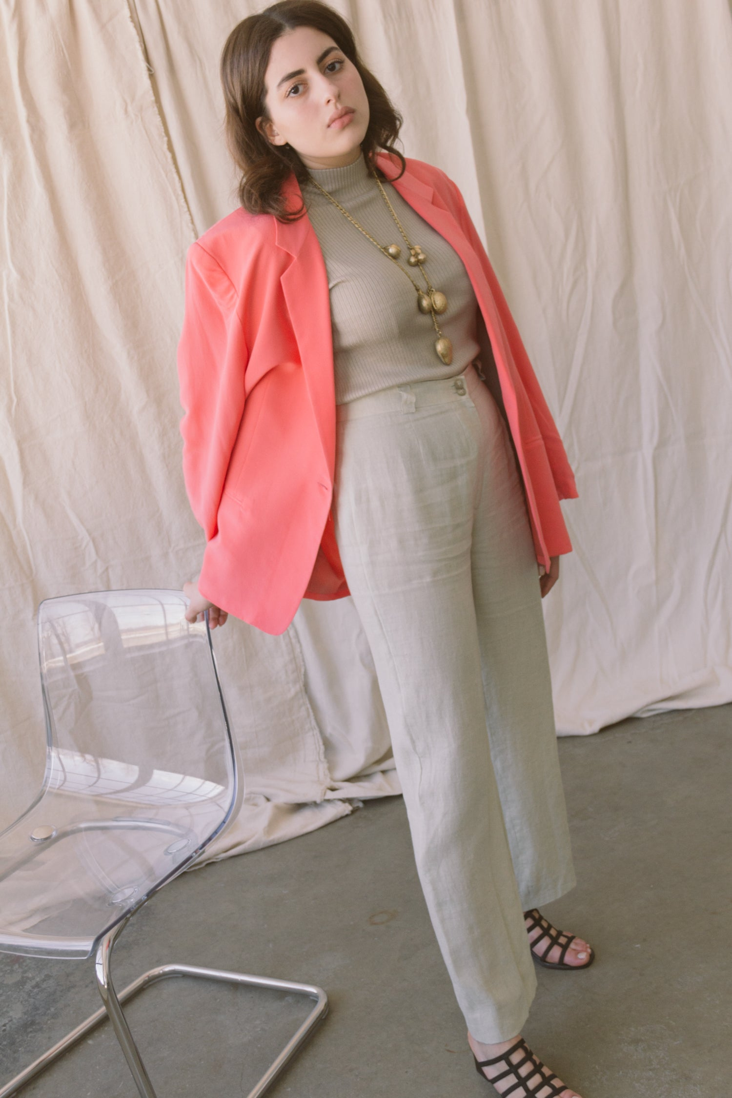 1980s Oversized Bubblegum Silk Blazer