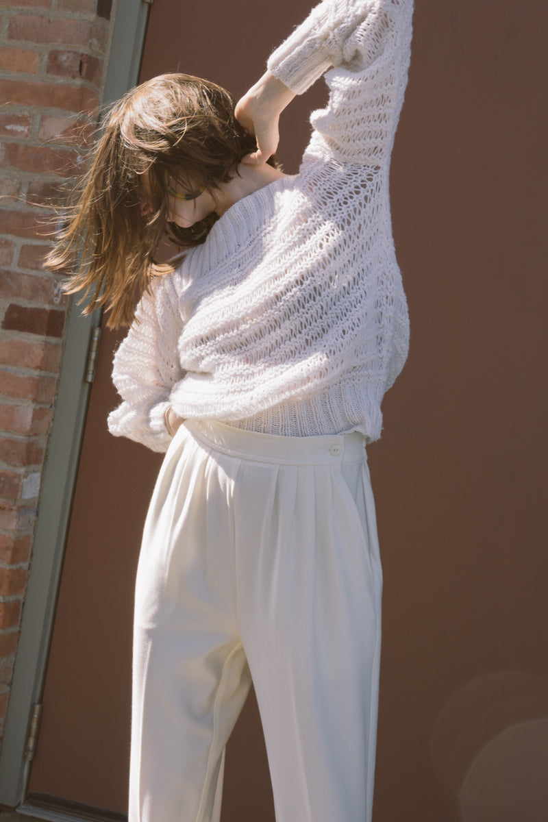 1980s Pleated White Stirrup Pants