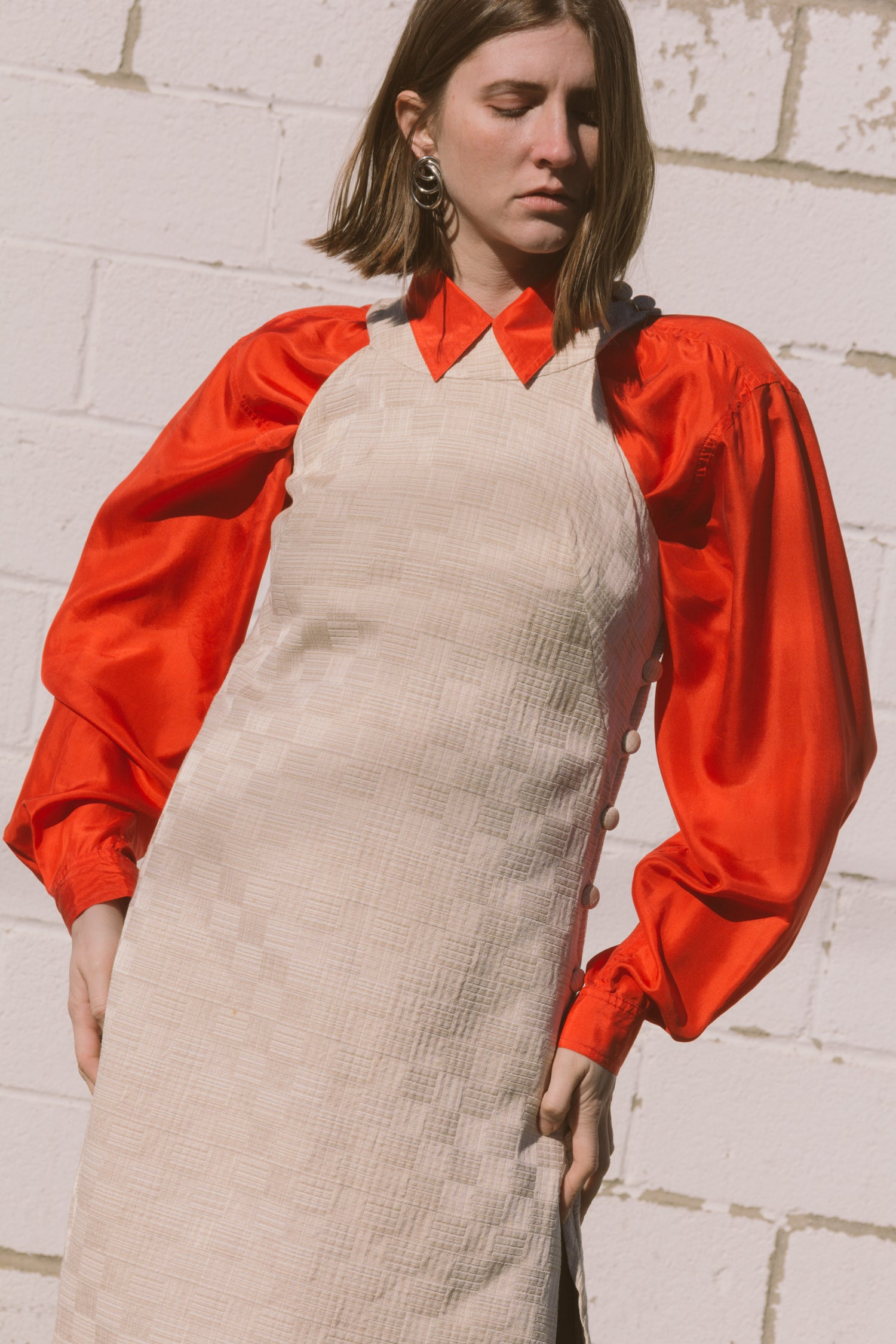 1980s Poppy Red Oversized Silk Top