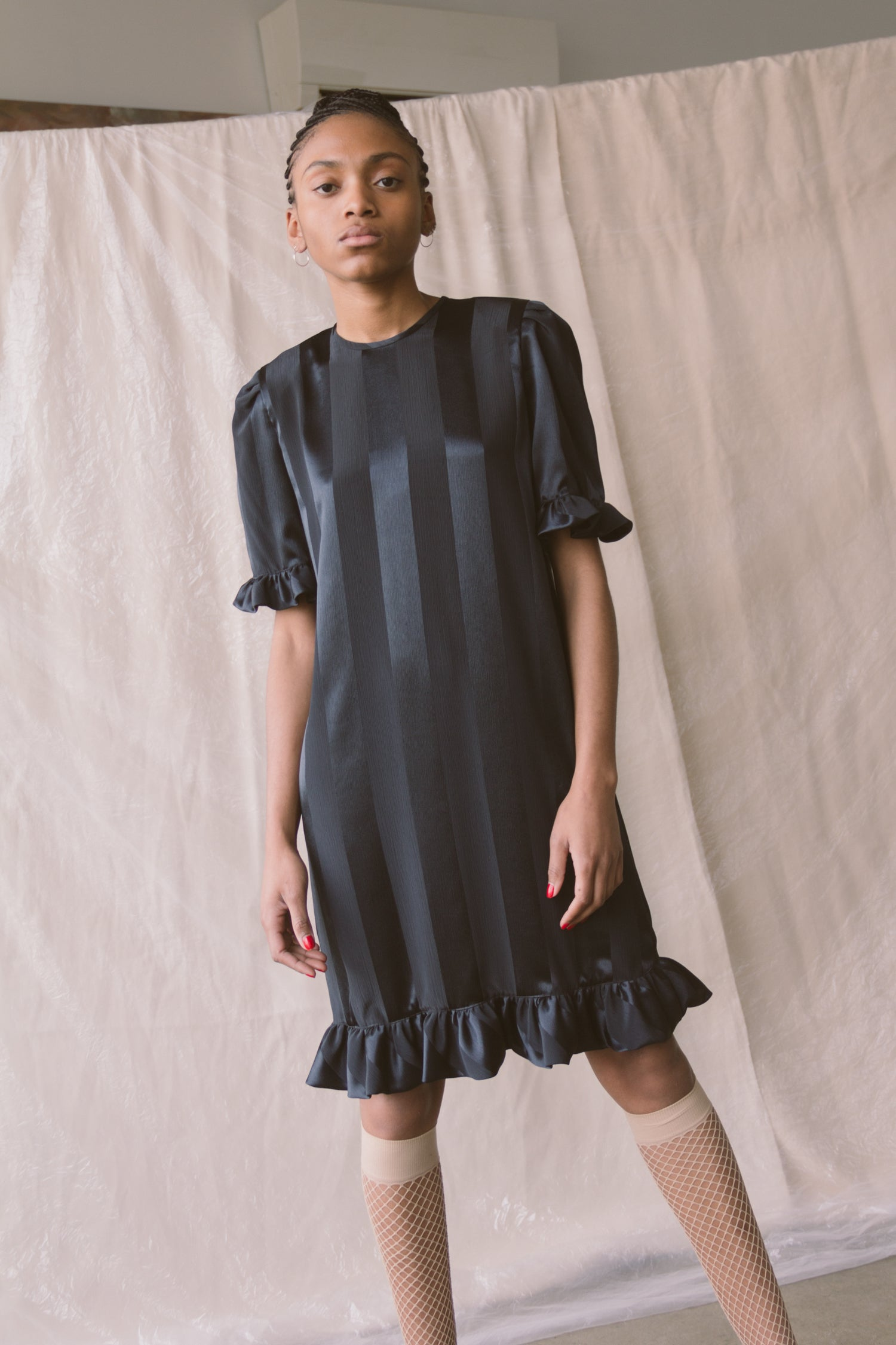 1980s Silk Stripe Ruffled Dress